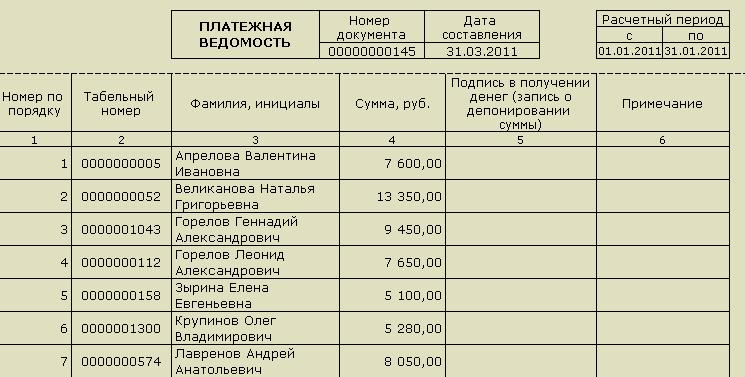 Бланк Платежной Ведомости Т 53